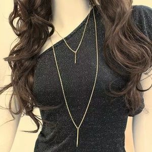 Double Layer Gold Vertical Bar Necklace